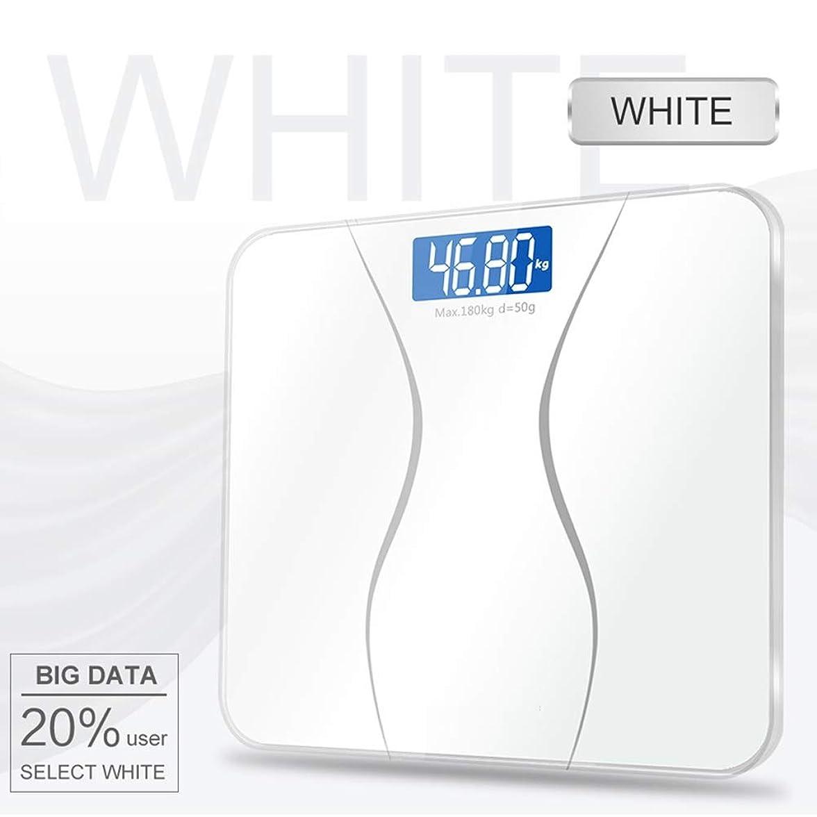 アカデミック幸運主導権ガラススマート家庭用電子デジタル体重バランス肥満LCDディスプレイ - 180KG / 50G - 11x11x0.78in ZHHCP (Color : White)