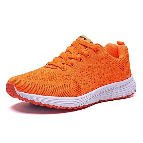 Decai Zapatillas de Deportivos de Running para Mujer Deportivo de Exterior Interior Gimnasia Ligero Sneakers Fitness Atlético Caminar Zapatos Transpirable Naranja 40 EU
