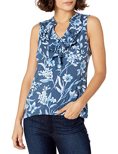 Chaps Women's Petite Ruffled Cotton Sleeveless Top, Dark Blue Multi, PXS