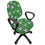 Lunarable Soccer Office Chair Slipcover, Grunge Arrangement with Football Field Weathered Design Green Backdrop, Protective Stretch Decorative Fabric Cover, Standard Size, White Black