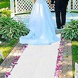 AisleRunnersforWeddings -2FTx15FT- White Sequin Aisle Runner Fuchsia Glitter Aisle Runner CarpetAisleRunner for WeddingCeremony Party Prom Event (2FTx15FT, White)