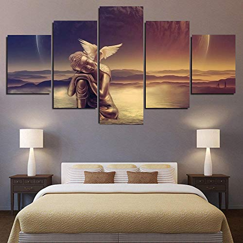 KOPASD Piy Painting 5 Piezas Cuadro sobre Lienzo Imagen Agua de pájaro alas de ángel Impresión Pinturas Murales Decor Dibujo con Marco Fotografía para Oficina Aniversario200x100cm