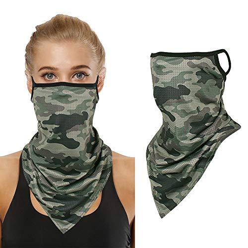 Unisex inconsútil oído bucles cara máscara tubo cuello polainas Rave pasamontañas bufanda mágica motocicleta verde ejército