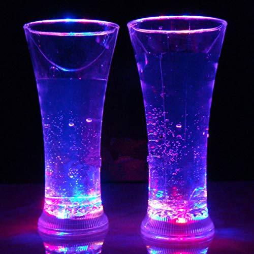 KoelrMsd Taza de luz de inducción de Agua con Destello de Taza Que Brilla intensamente LED Colorida Copa de Vino