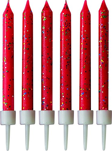 12 Red Glitter Cake Candles with Holders