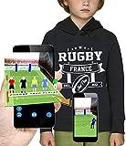 PIXEL EVOLUTION Sweat à Capuche 3D Rugby France en Réalité Augmentée Enfant - Taille 12 Ans - Noir