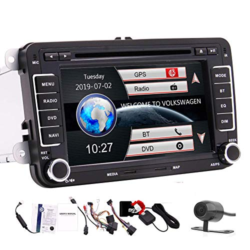 7 inch Car Stereo GPS Navigation Car Radio Touch Screen Double Din Head Unit in Dash for Volkswagen Bluetooth Car DVD CD Player for VW Passat Golf MK5 Jetta Tiguan T5 Skoda Seat Backup Camera