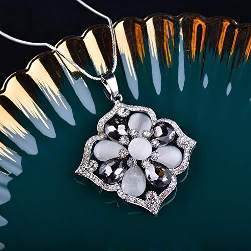 yuge Collar largo de la flor del ópalo de la vendimia collar largo femenino blanco rojo gris piedra collar personalizado joyería graystone