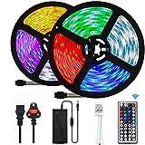 UTTORA 10M Tira LED, Tiras LED RGB 5050 12V con 300 LEDs, Iluminación de ambiente,Imperme...