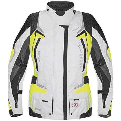 Germot Damen Motorrad-Textiljacke Allround, wind- und wasserdicht, hellgrau/gelb, 44D