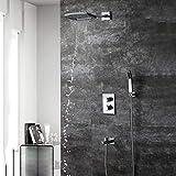 WANGXINQUAN Ducha termostática Oculta en la Pared Cobre Cuatro Funciones 200 * 250 Ducha de baño con rociador Superior en Cascada de Dos Funciones