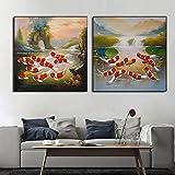 Pintura de pared 2 piezas 50x50 cm sin marco retro vintage nueve peces ilustración koi rojo peces de la suerte carteles e impresiones arte de la pared decoración de la sala de estar