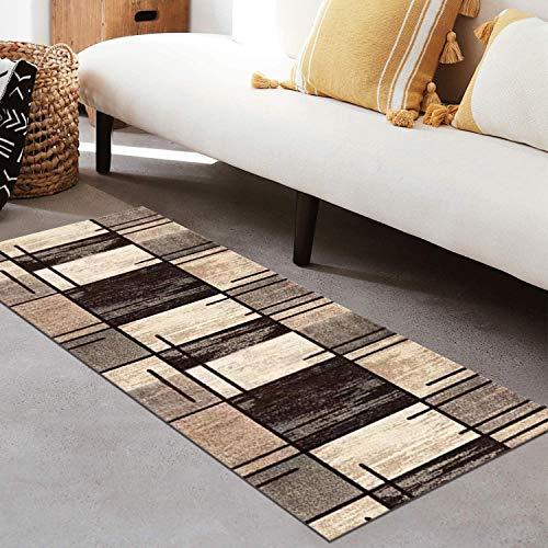 QIANGZI Alfombra para pasillo antideslizante, resistente a la suciedad para pasillo, piso de cocina, pasillo, líneas marrones, alfombras lavables (tamaño: 60 x 250 cm, color: A)