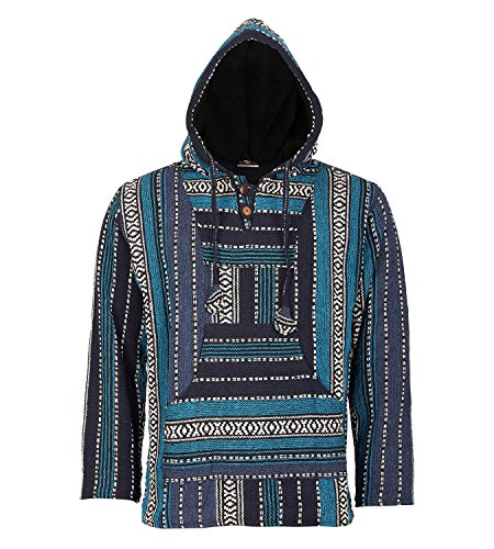 KUNST UND MAGIE Nepal Baja Jerga Sweatshirt Poncho, Größe:3XL, Farbe:Petrol