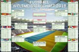 Fußball - WM Spielplan 2018 Weltmeisterschaft Russland Fussball Poster Plakat Druck - Grösse 91,5x61 cm + 1 Ü-Poster der Grösse 61x91,5cm