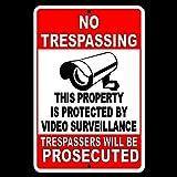 Dozili No Trespassing Property Protegido Video Vigilancia Seguridad Cámara Señal Metal