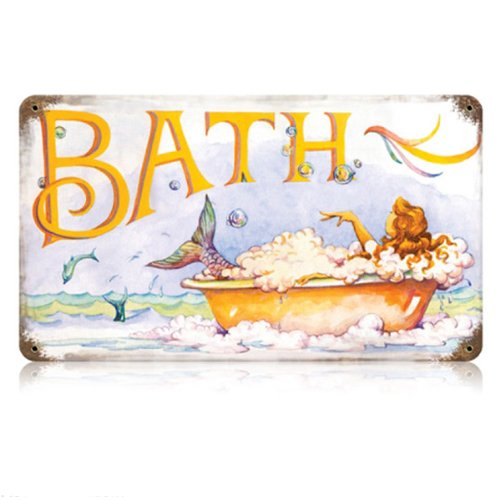 Past Time Signs V234 Mermaid Bath Home and Garden Vintage Metal Sign, 14 W X 8 H in.