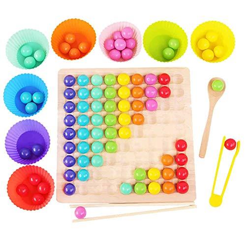 FDSAF Holz Clip Perlen Regenbogen Passenden Brettspiel Spielzeug, Kinder HäNde Gehirn Training Holz Clip Beads Puzzle Brettspiel
