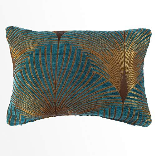 Linen Loft Art Deco Fan Boudoir Cushion. Teal and Gold Velvet Chenille. Double Sided Geometric Feather Style. 17'x12' Rectangle Pillow. (43cm x 30cm Cover only)