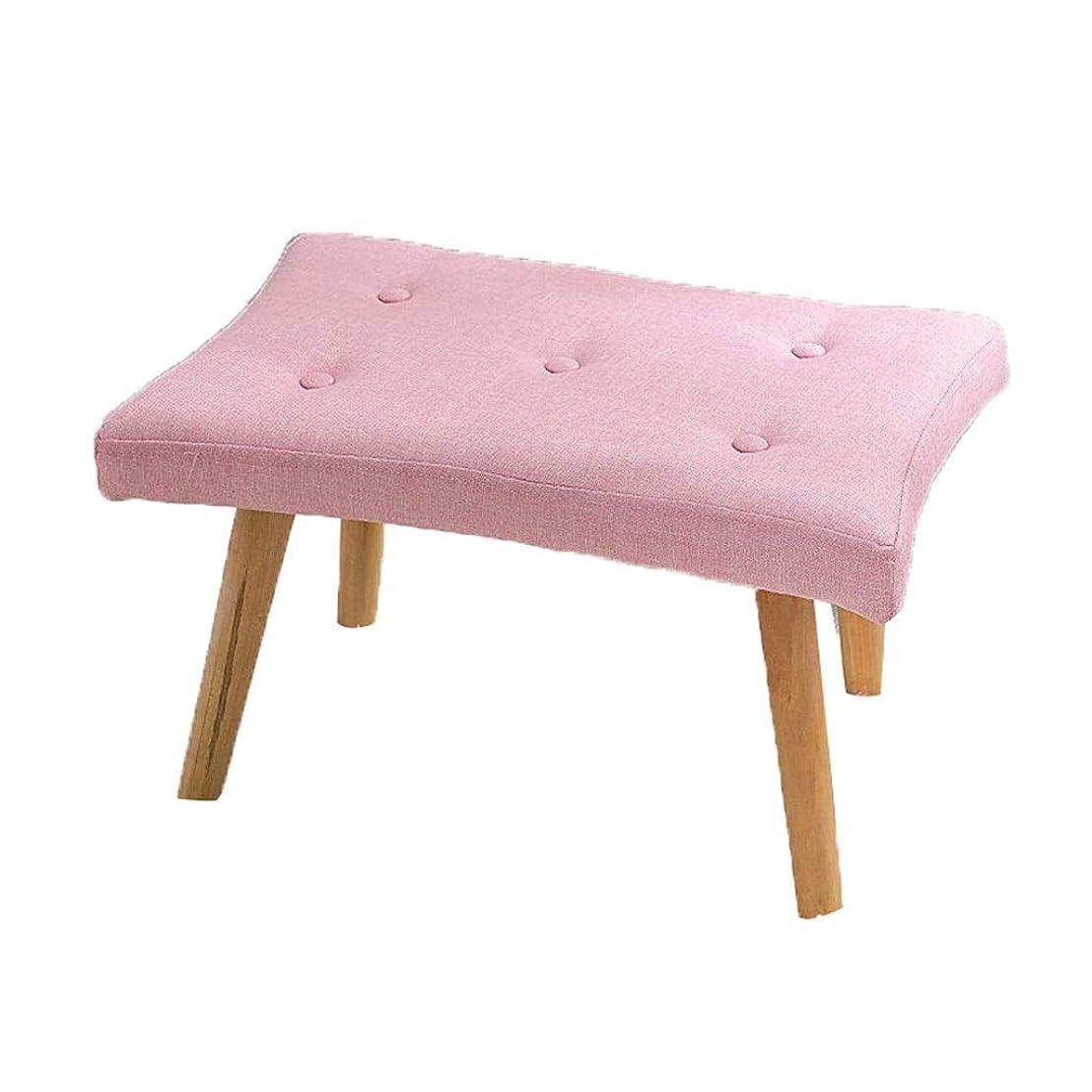 被害者脱走争いAilj 足台、 無垢材 布 スツール 寝室用ソファベンチ 55×36×36cm 3色 (色 : ピンク)