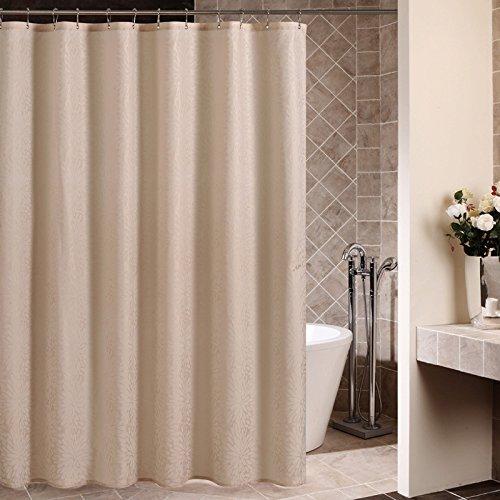 Ommda Duschvorhang Textil Polyester Wasserdicht Duschvorhang Anti-schimmel Waschbar mit 12 Duschvorhang Ring Kunststoff 180x200cm Champagner
