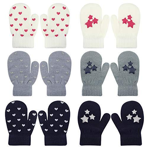 QKURT 6pcs Kleinkind Stretch-Fäustlinge, Unisex-Strickhandschuh Kinderhandschuh Winterhandschuh für den täglichen Gebrauch