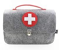 stil-macher Arztkoffer aus Filz VEGAN   Doktortasche aus weichem Filzstoff   25x33x16 cm (HxBxT)   Zum aufbewahren von Spielzeug und Medikamenten (Arztkoffer-Rot)