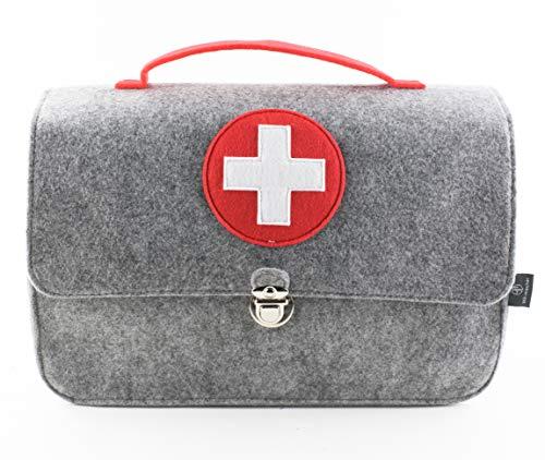 stil-macher Arztkoffer aus Filz | Doktortasche | Kinderarztkoffer | Rollenspiele | 25x33x16 cm (HxBxT) | Für Spielzeug oder Medikamente | grau-rot