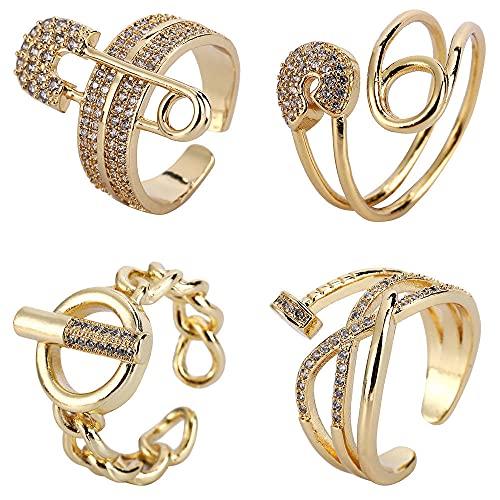 Juego de anillos apilables para nudillos vintage, 4 anillos ajustables para nudillos para mujeres, adolescentes, niñas, cadena de serpiente, anillo apilable, anillos huecos bohemios chapados en oro