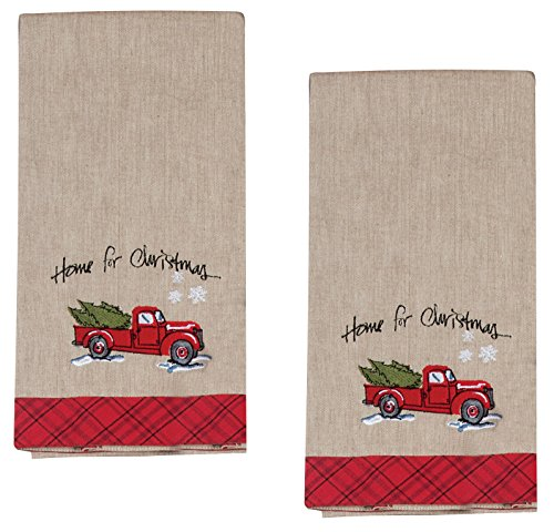 Home for Christmas Embroidered Tea Towel Farm Truck with Tree Snowflakes, Set of 2