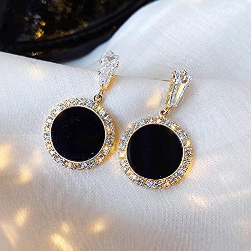 XCWXM Pendientes de pedrería Redondo Negro Moda Simple y versátil Temperamento Femenino Joyas de Boda pendientes-E105 Yuan xing