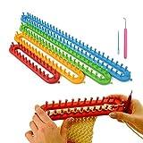 JWBOSS Schal strickmaschine für anfänger, Strick Webmaschinen, DIY Wolle Schal Hut Garn Knitter Loom 4 Größe Set 6-4 Strickrahmen 56/45/35/24cm Strickzubehör strickset mit 1 Looming Haken + 1 Nadel