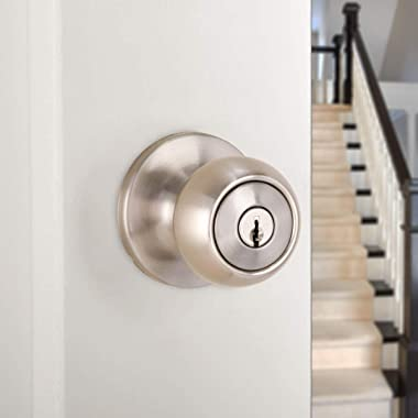 Amazon Basics Exterior Door Knob With Lock, Coastal, Satin Nickel