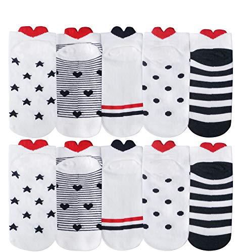 10 Pares Amor Calcetines Tobilleros Mujer Divertidos Calcetines Cortos Corazones de Algodón Calcetines Mujer Dibujos Love Heart Calcetines Invisibles de Deporte Transpirables