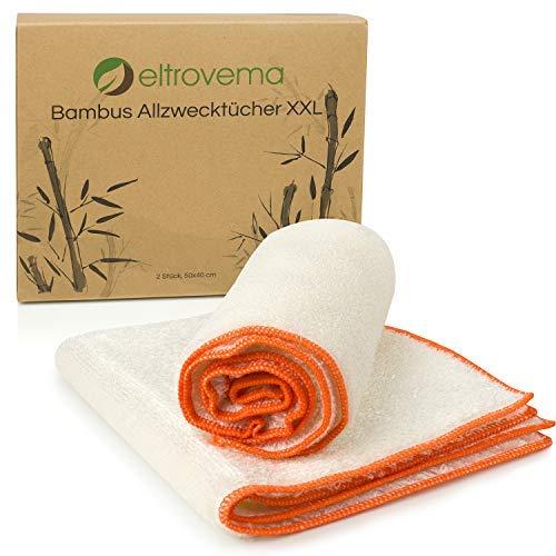 Bambus Trockentücher, Allzwecktücher, Putztücher für Hochglanz und Leder geeignet, für Reinigung in Haushalt und Küche, waschbar, Viskose (40 x 50cm)