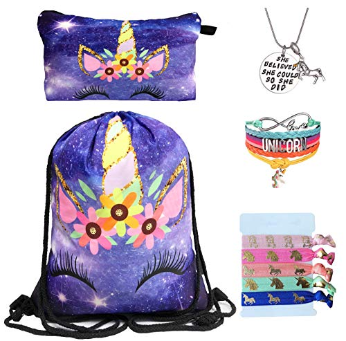 Unicorn Gifts for Girls - Unicorn Drawstring Backpack/Makeup Bag/Bracelet/Inspirational Necklace/Hair Ties (Purple Rainbow Unicorn)