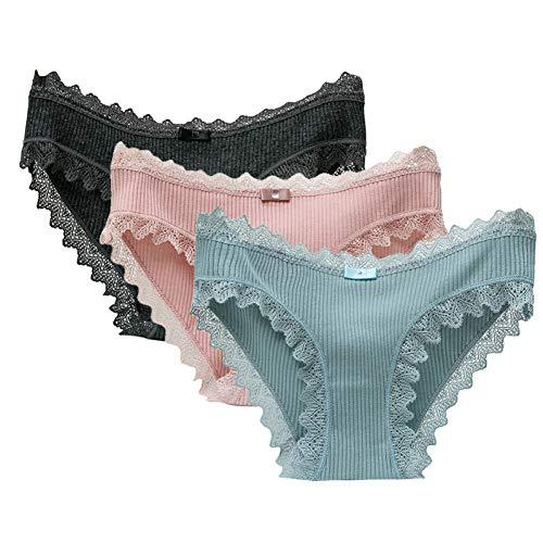 XXNYD 3 Unids/Lote Bragas De Encaje Ropa Interior De Algodón para Mujer Calzoncillos Sólidos Sin Costura Calzoncillos para Niñas Pantalones Lencería Suave Y...
