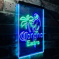 Corona Parrot Beer Bar Man Cave LED看板 ネオンサイン バーライト 電飾 ビールバー 広告用標識 グリーン+ブルー W30cm x H40cm