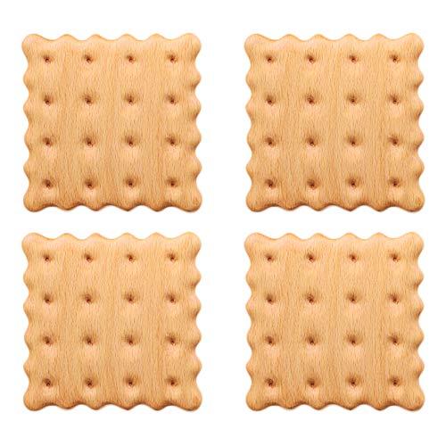 コースター 木製コースター 茶托 滑り止め 茶パッド 耐熱 防水 断熱パッド 瓶敷 鍋敷き クッキー (4個セット, ブナの木)
