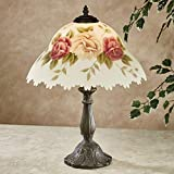 Touch of Class Romantic Roses Handmade Floral Table Lamp with Scalloped Reverse Handpainted Frosted Glass Shade- Burgundy, Yellow Lamps - Original Antique Style Rose Shades - 19.5 Inches High