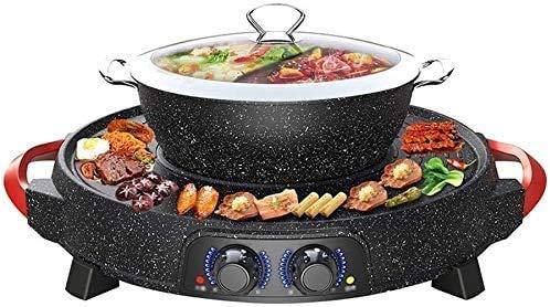 grill en hete potten, tafelblad en hete potten, keramische coating, elektrische waterkoker met anti-aanbaklaag met glazen deksel en instelbare thermostaat, potten. Hot Pot With Divider