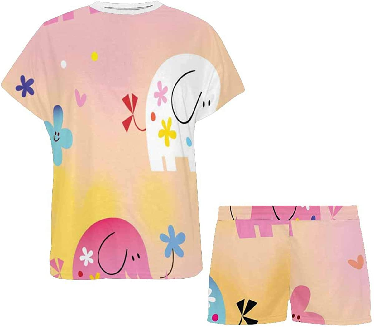INTERESTPRINT Cute Baby Elephants, Flowers Women's Pajama Sets Short Sleeve Shorts - Pajamas for Women