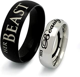 Kriskate & Co. His Beauty Her Beast Ring, His & Hers Rings, Personalized Engrave Stainless Steel Ring SSR599