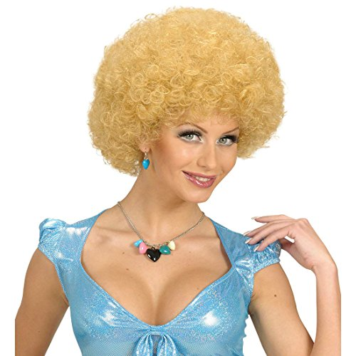 Amakando Perruque Blonde Disco Afro Cheveux Pop Star années 70 80 Blond tête bouclée Disco Chanson Populaire soirée à thème Accessoires déguisement