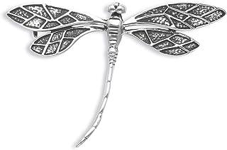 Spilla a forma di libellula in argento Sterling, dimensioni: 50 mm x 34 mm, in confezione regalo, di buone dimensioni, 900...