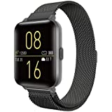 Kalakate Smart Watch, IP68 Swimming Waterproof Health Smartwatch for Men Women, Fitness Tracker with Step Sleep Heart Rate Monitor, Sport Watches for iOS Android Phones, Space Gray