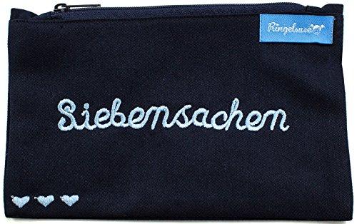 Kosmetiktäschchen/Schminkbeutel/Kulturtasche Dunkelblau Blaue Stickerei Siebensachen 12 x 20 cm 100% Baumwolle Fairtrade Ringelsuse