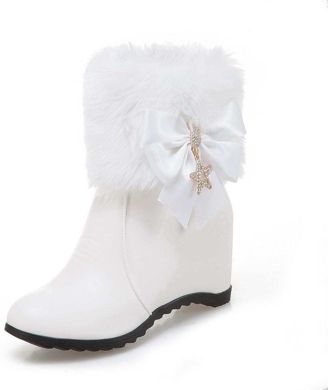 AdeeSu Womens Mid-Calf Rhinestones Bows Urethane Boots SXC02489