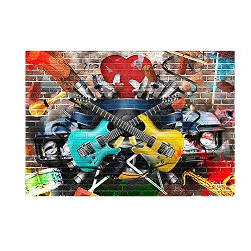 Graffiti Street Art Gitarre Musik Kunst Leinwand Malerei Wohnzimmer klassische Drucke moderne abstrakte Kunst rahmenlose dekorative Malerei A23 60x80cm