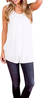 Womens Flowy Tank Tops Summer Swing Loose Fitting T Shirts Sleeveless Blouse Long Tunics